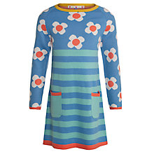 Buy John Lewis Girl Floral Half & Half Knit Dress, Aqua Online at johnlewis.com