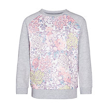 Buy John Lewis Girl Floral Panel Jumper, Grey Online at johnlewis.com