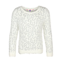 Buy John Lewis Girl Metallic Leopard Print Eyelash Jumper, Gardenia Online at johnlewis.com