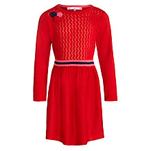 Buy John Lewis Girl Pointelle Knit Dress, Poinsetta Online at johnlewis.com
