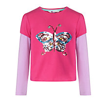 Buy John Lewis Girl Sequin Butterfly Applique T-Shirt, Pink Online at johnlewis.com