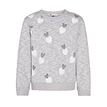 Buy John Lewis Girl Heart Sequin Marl Knit Embellished Jumper, Grey Online at johnlewis.com
