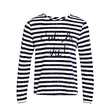 Buy John Lewis Girl C'est La Vie Long Sleeve T-Shirt,  Blue/White Online at johnlewis.com