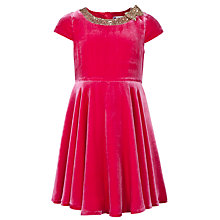 Buy John Lewis Girl Sequin Collar Velvet Dress, Purple Online at johnlewis.com
