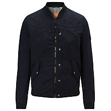 Buy BOSS Orange Authentic College Biker Jacket, Navy Online at johnlewis.com