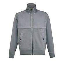 Buy BOSS Orange Ztereo Cotton Blend Sweatshirt Jacket, Grey Online at johnlewis.com