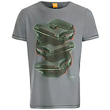 Buy BOSS Orange Tracked 1 Printed T-Shirt, Grey Online at johnlewis.com