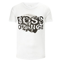 Buy BOSS Orange Talking Logo Cotton T-Shirt, White Online at johnlewis.com