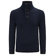 Buy BOSS Orange Wherso Button Neck Jumper, Sky Captain Blue Online at johnlewis.com