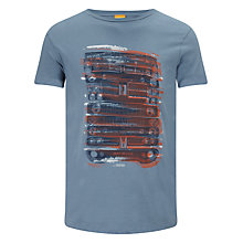 Buy BOSS Orange Car Grill Logo Cotton T-Shirt, Blue Online at johnlewis.com
