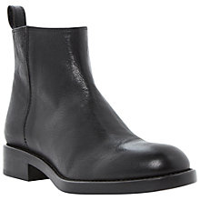 Buy Dune Black Philip Side Zip Leather Ankle Boots , Black Online at johnlewis.com