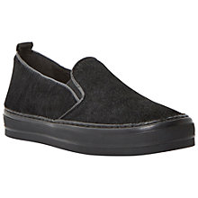 Buy Dune Black Polli Leather Trainers, Black Pony Online at johnlewis.com