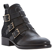 Buy Bertie Podd Leather Buckled Ankle Boots, Black Online at johnlewis.com