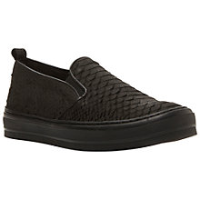 Buy Dune Black Polli Leather Trainers, Black Croc Online at johnlewis.com