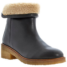Buy Bertie Purley Lined Leather Ankle Boots, Black Online at johnlewis.com