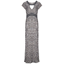 Buy Gina Bacconi Long Sequin Keyhole Dress, Silver Online at johnlewis.com