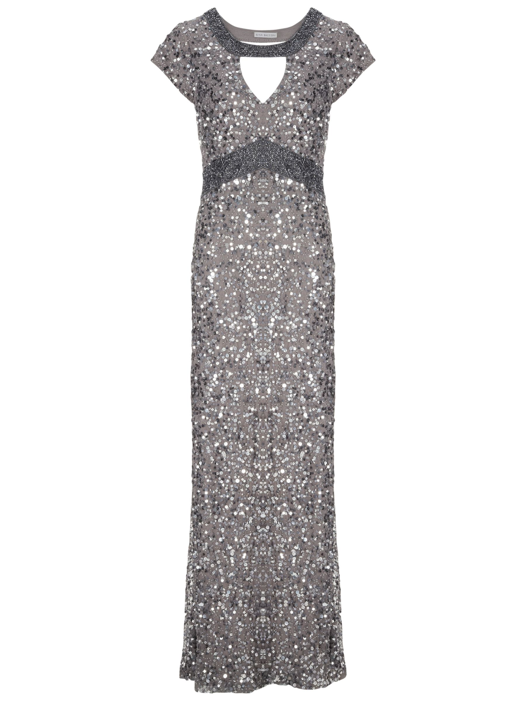 Gina Bacconi Long Sequin Keyhole Dress, Silver