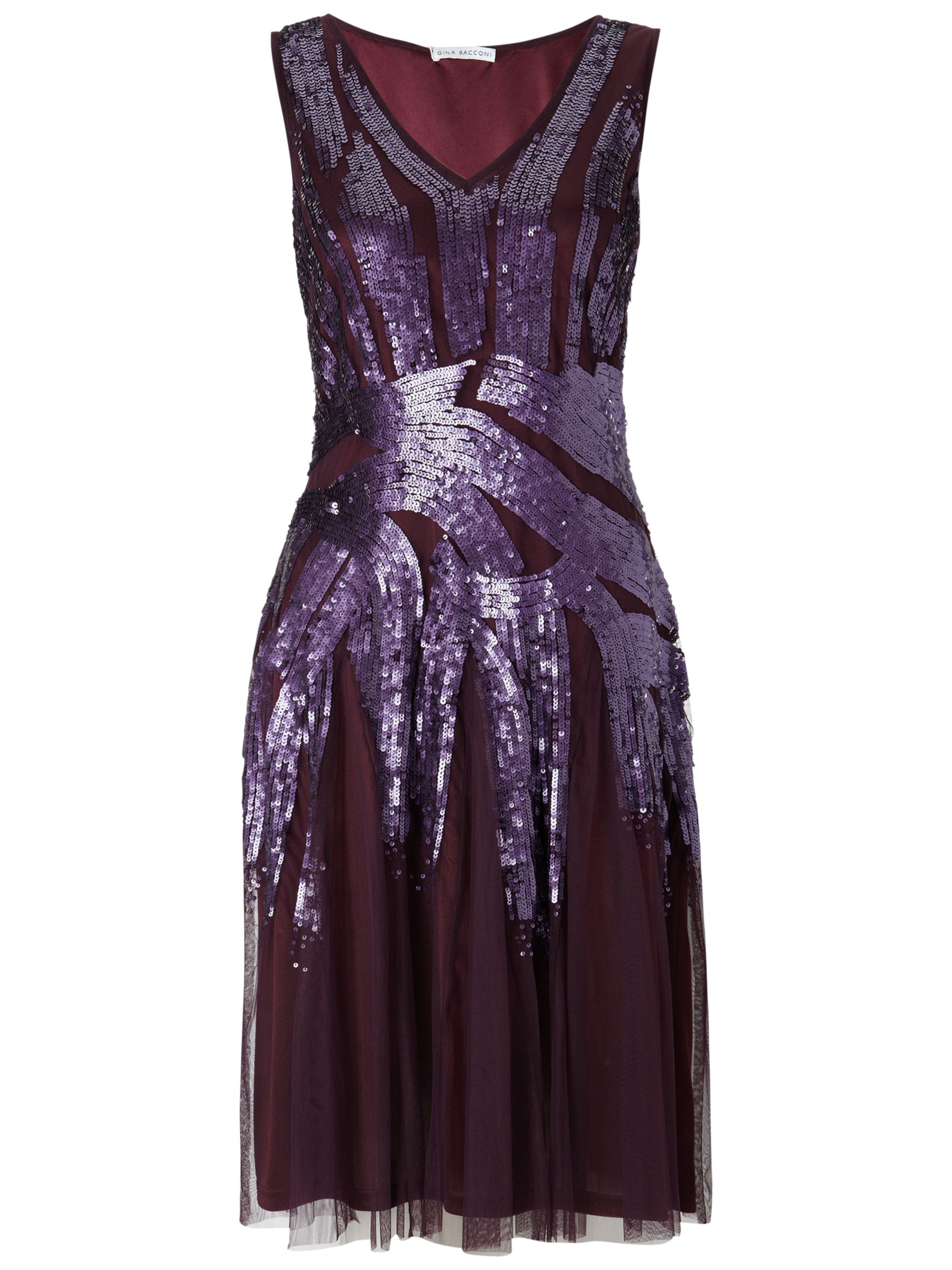 Gina Bacconi Beaded Dress, Plum
