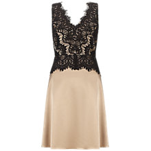 Buy Gina Bacconi Satin Dress with Lace Bodice, Black Online at johnlewis.com