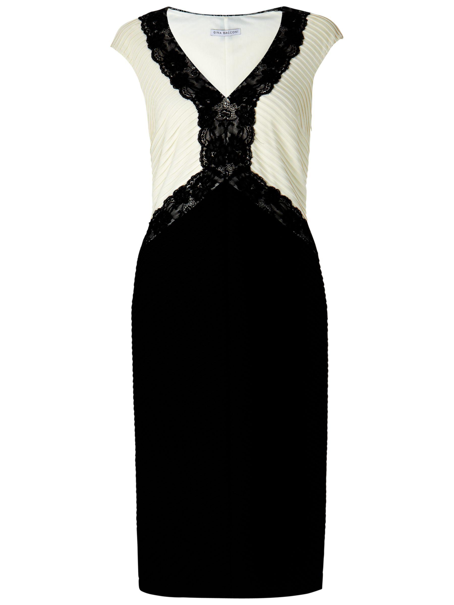 Gina Bacconi Lace Bodice Dress, Black/Chalk Light