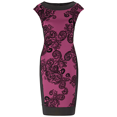 Gina Bacconi Velvet Paisley Stretch Dress, Berry