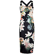 Buy Ted Baker Opulent Bloom Print Sleeveless Dress, Black Online at johnlewis.com