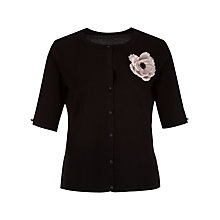 Buy Jacques Vert Corsage Trim Cardigan, Black Online at johnlewis.com