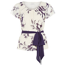 Buy Jacques Vert Linear Rose Print Belted Blouse, Powder Puff Online at johnlewis.com