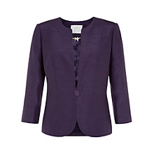 Buy Jacques Vert Collarless One Button Jacket, Damson Online at johnlewis.com