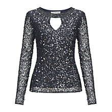 Buy Gina Bacconi Beaded Keyhole Top, Slate Online at johnlewis.com