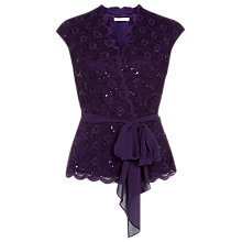 Buy Jacques Vert Sparkle Lace Cross Top, Damson Online at johnlewis.com