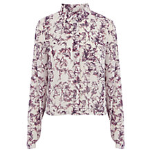 Buy Warehouse Bird Cage Print Cropped Shirt, Pink Pattern Online at johnlewis.com