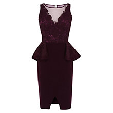 Buy Coast Tessa Peplum Dress, Merlot Online at johnlewis.com