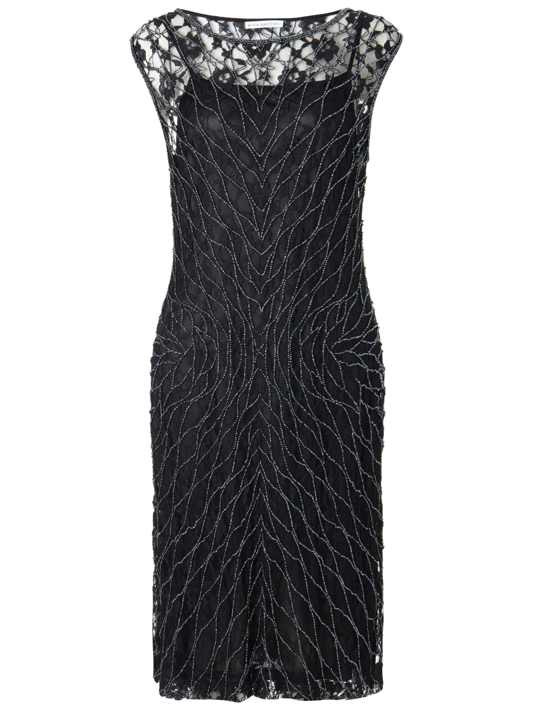 Gina Bacconi Beaded Lace Dress, Black
