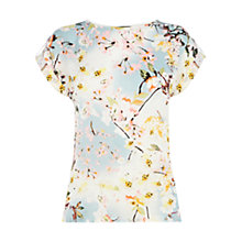 Buy Warehouse Trailing Floral Print T-Shirt, Pink/Multi Online at johnlewis.com