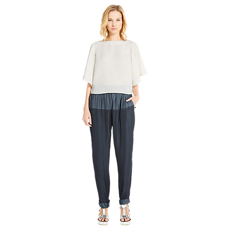 Buy Warehouse Fluted Sleeve Cropped T-Shirt, Cream Online at johnlewis.com
