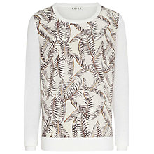 Buy Reiss Rover Printed Silk Front Jumper, Cream Online at johnlewis.com