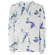 Buy Reiss Delores Printed Silk Shirt, Pumpkin Online at johnlewis.com