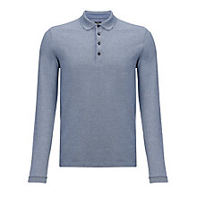Buy BOSS Tivoli Pique Long Sleeve Polo Shirt, Blue Online at johnlewis.com