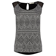 Buy Oasis Aztec Burnout Vest, Black Online at johnlewis.com