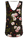 Oasis Rose Print V-Neck Vest, Black/Multi