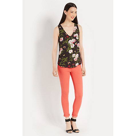 Buy Oasis Rose Print V-Neck Vest, Black/Multi Online at johnlewis.com