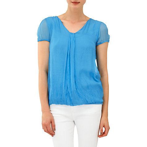 Buy Phase Eight Mila Silk Cap Sleeve Blouse, Azure Online at johnlewis.com