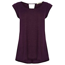 Buy Oasis Linen Mix T-Shirt, Dark Purple Online at johnlewis.com