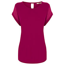 Buy Oasis Chiffon Mix T-Shirt, Deep Pink Online at johnlewis.com