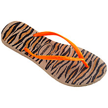 Buy Havaianas Slim Patterned Rubber Flip Flops, Tiger Print Online at johnlewis.com