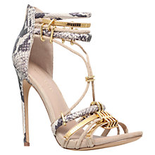 Buy KG by Kurt Geiger Native Leather Stiletto Heeled Sandals, Nude Online at johnlewis.com