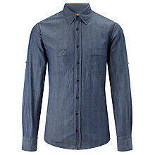 Buy BOSS Orange Califoe Herringbone Shirt, Indigo Online at johnlewis.com