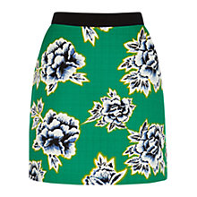 Buy Warehouse Stencil Floral Skirt, Green Print Online at johnlewis.com