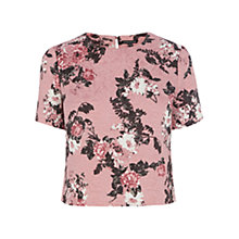Buy Warehouse Pattern Floral Jacquard Tee, Pink Pattern Online at johnlewis.com